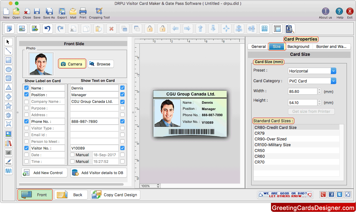 Visitors Id Cards Maker For Mac Screenshots To Design Visitor Id Cards
